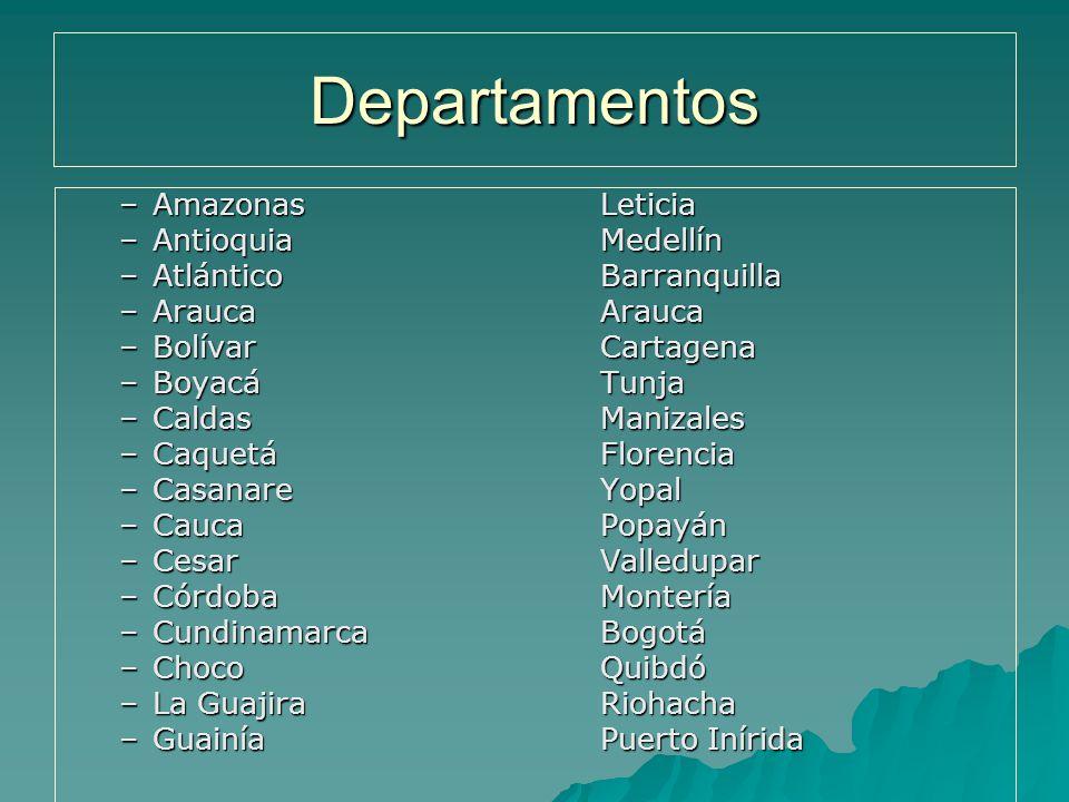 Departamentos Amazonas Leticia Antioquia Medellín