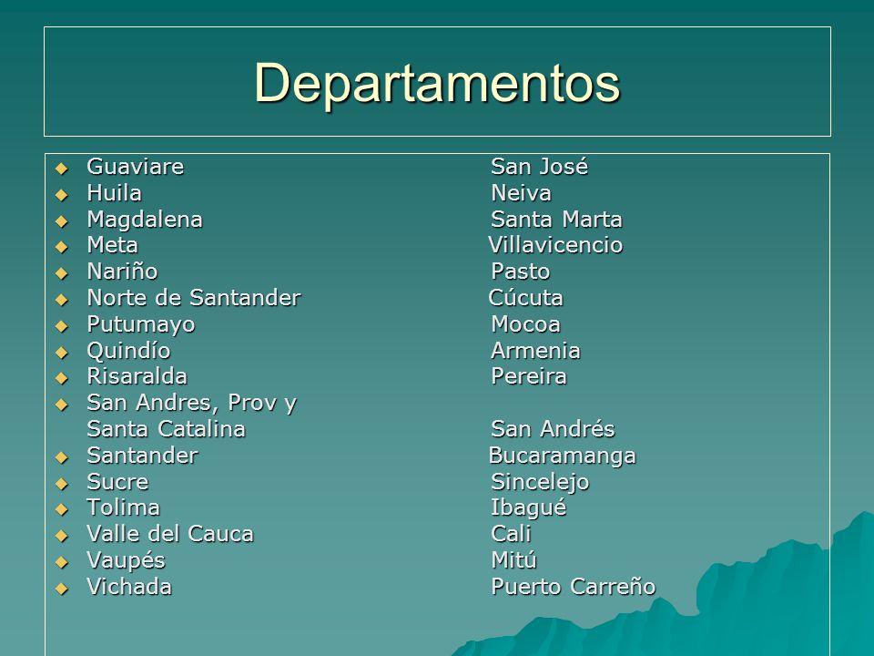 Departamentos Guaviare San José Huila Neiva Magdalena Santa Marta