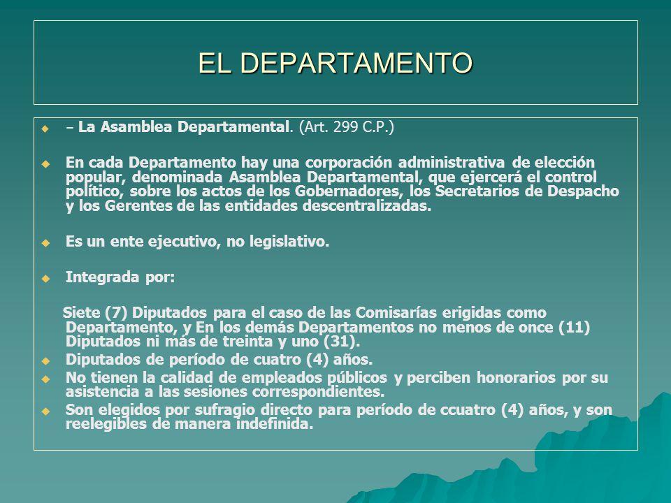 EL DEPARTAMENTO – La Asamblea Departamental. (Art. 299 C.P.)