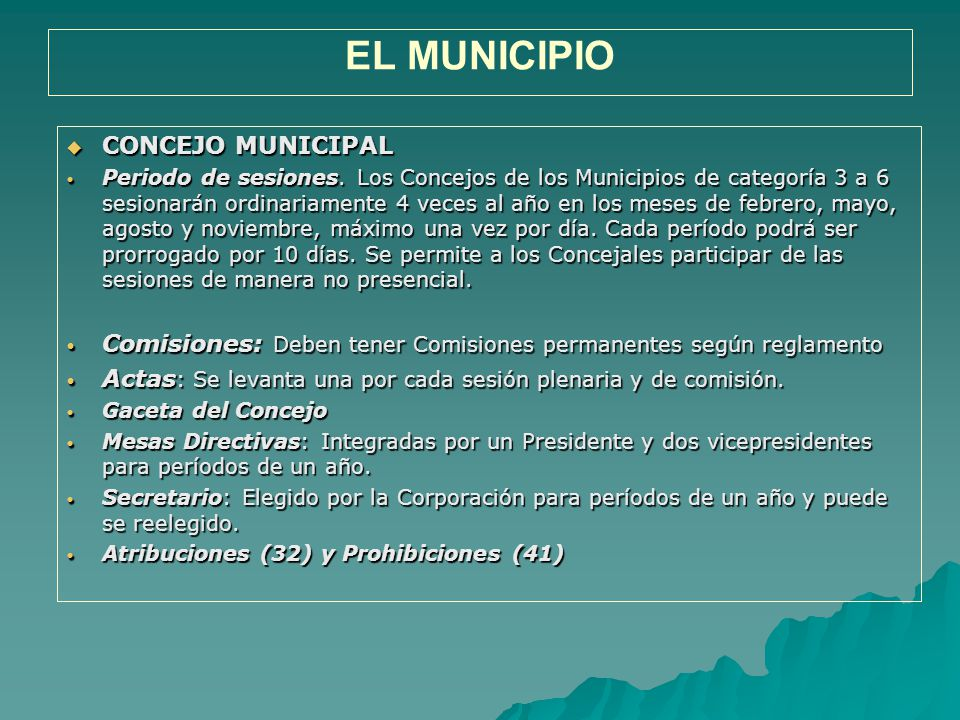 EL MUNICIPIO CONCEJO MUNICIPAL