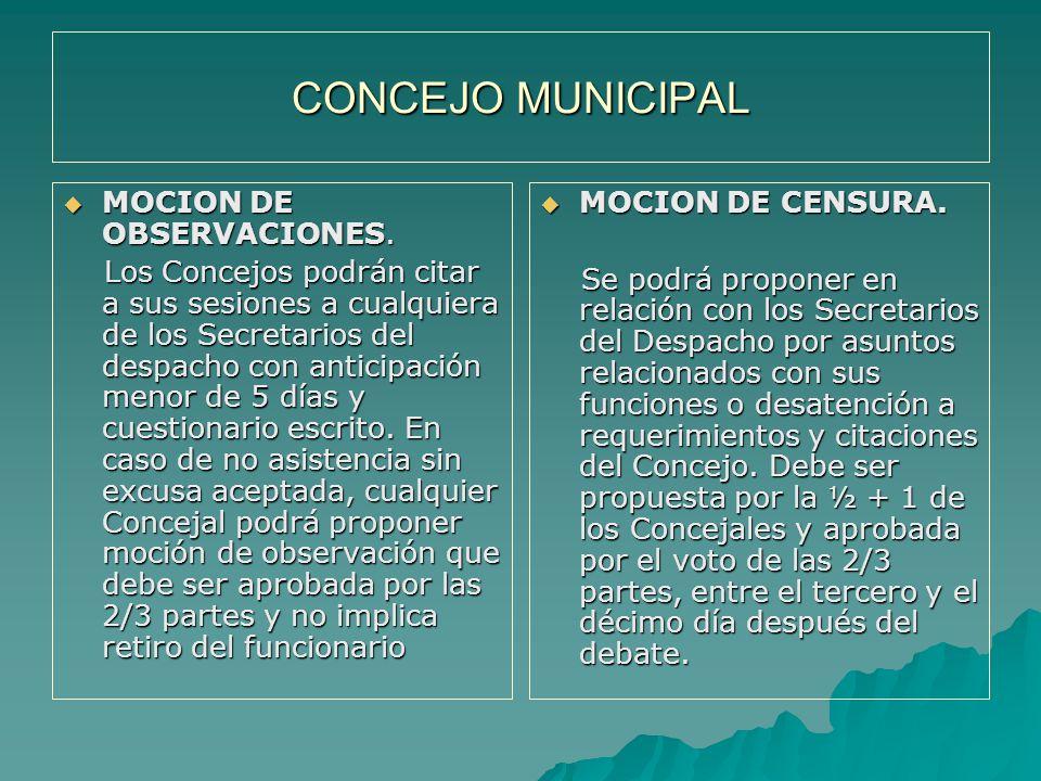 CONCEJO MUNICIPAL MOCION DE OBSERVACIONES.