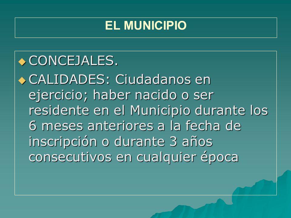 EL MUNICIPIO CONCEJALES.