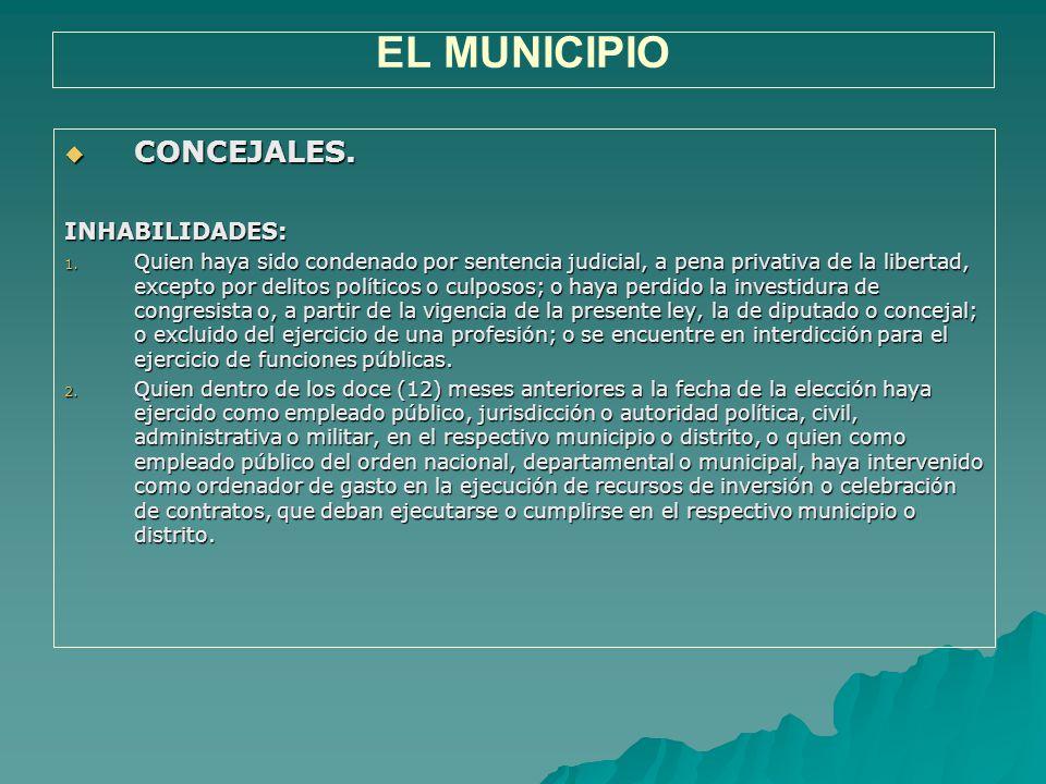 EL MUNICIPIO CONCEJALES. INHABILIDADES: