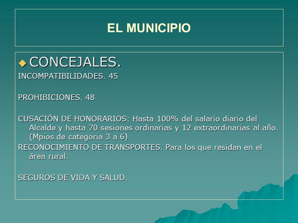 CONCEJALES. EL MUNICIPIO INCOMPATIBILIDADES. 45 PROHIBICIONES. 48