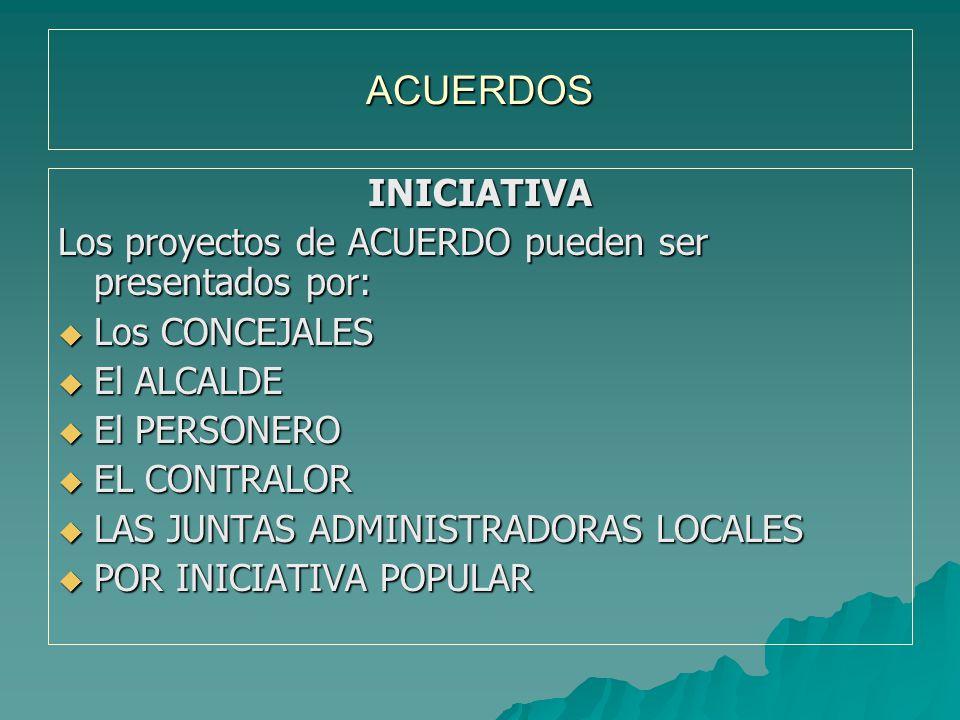 ACUERDOS INICIATIVA. Los proyectos de ACUERDO pueden ser presentados por: Los CONCEJALES. El ALCALDE.
