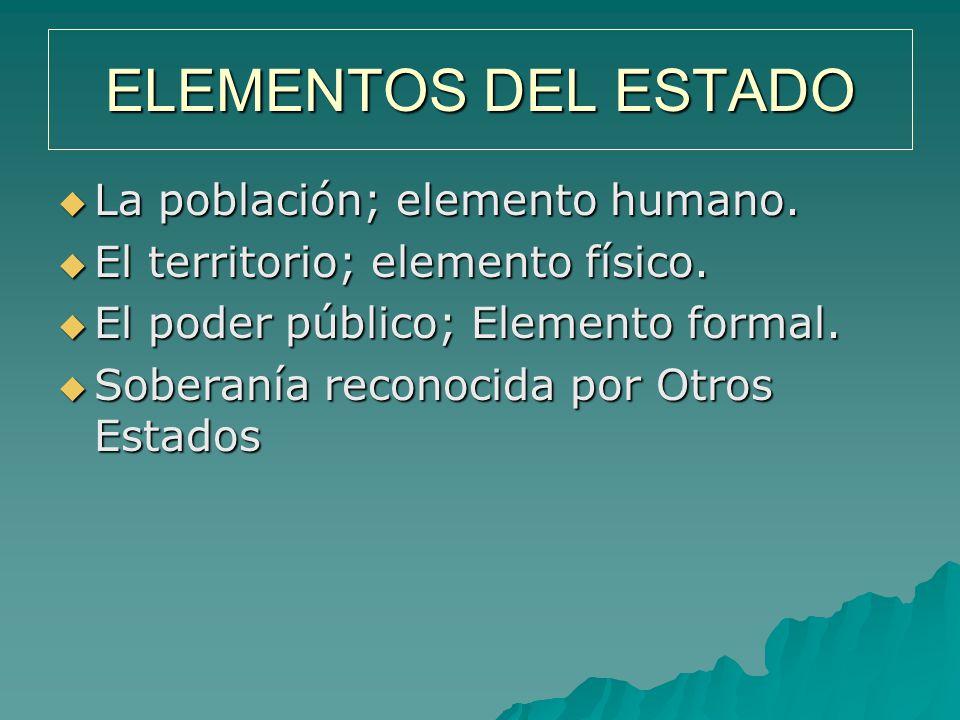 ELEMENTOS DEL ESTADO La población; elemento humano.
