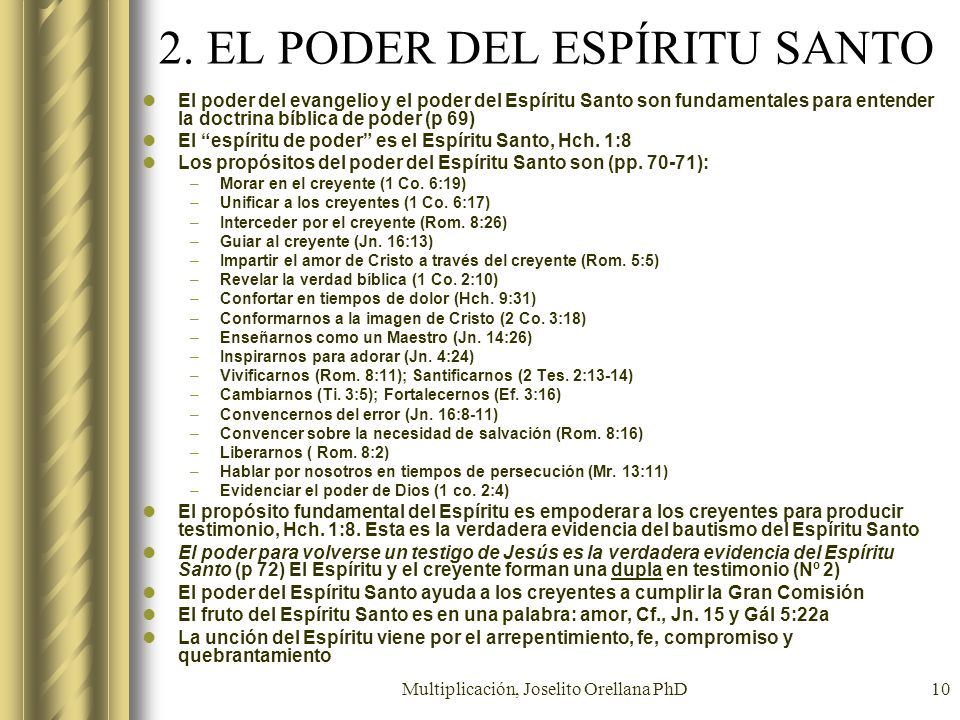 2. EL PODER DEL ESPÍRITU SANTO