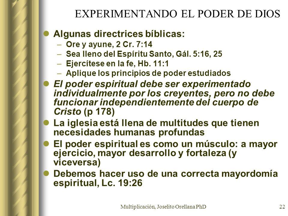 EXPERIMENTANDO EL PODER DE DIOS