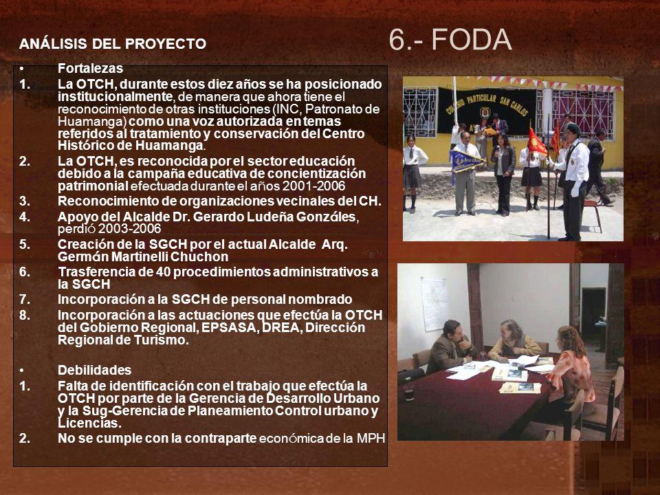 6.- FODA ANÁLISIS DEL PROYECTO Fortalezas