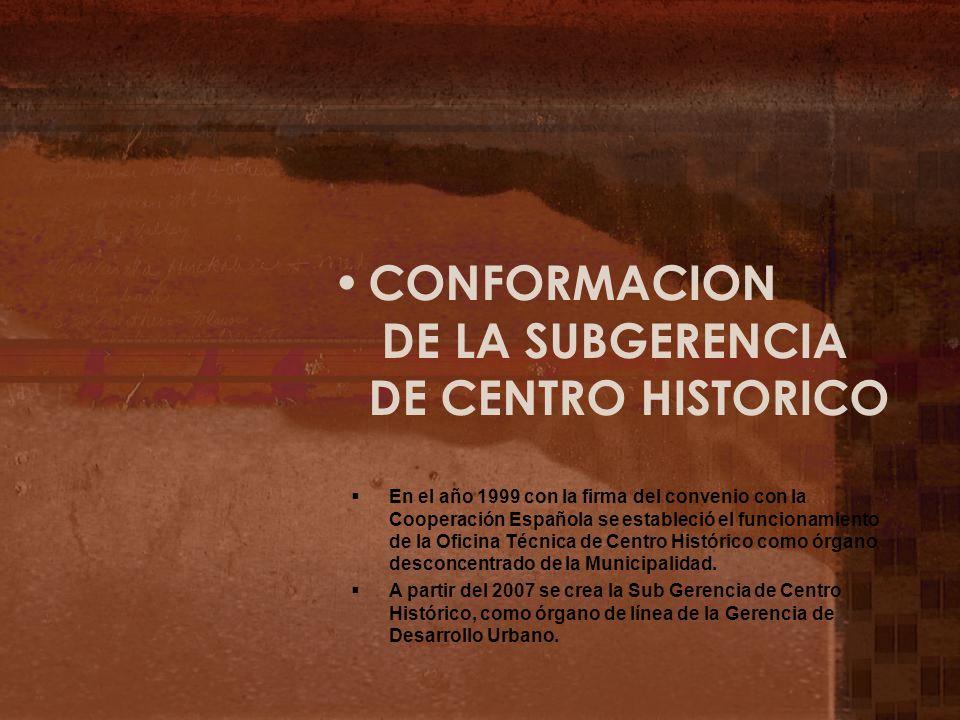 CONFORMACION DE LA SUBGERENCIA DE CENTRO HISTORICO