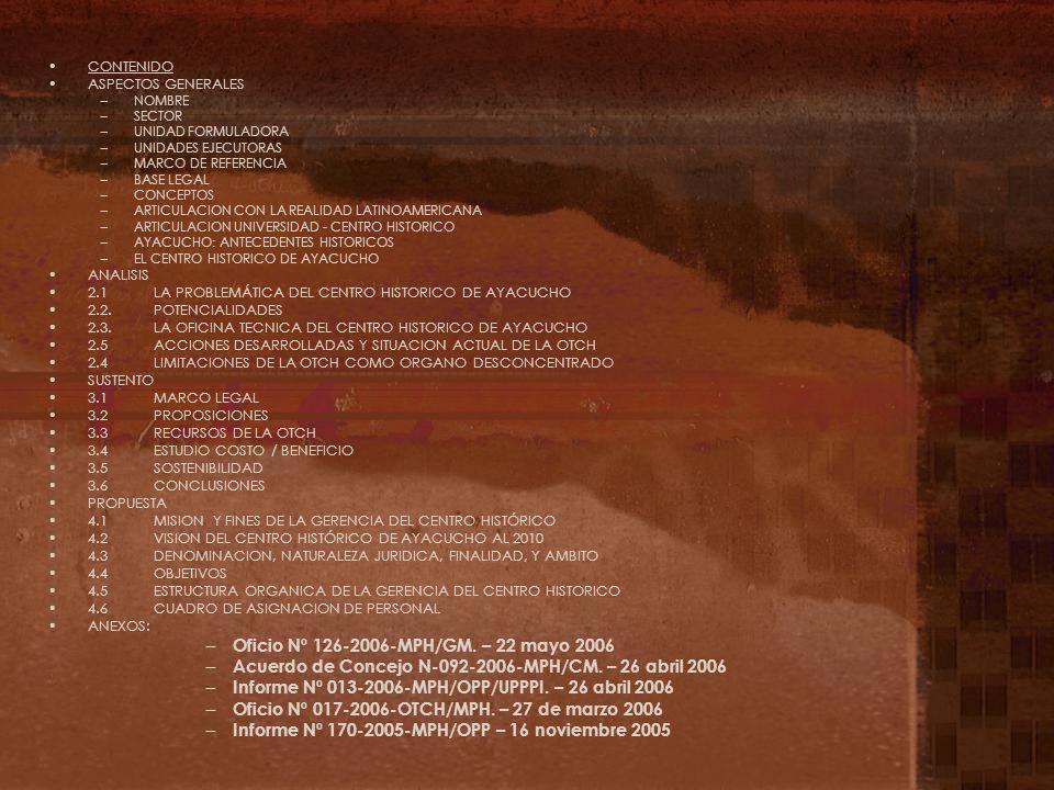 Oficio Nº 126-2006-MPH/GM. – 22 mayo 2006