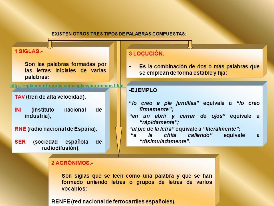 EXISTEN OTROS TRES TIPOS DE PALABRAS COMPUESTAS: