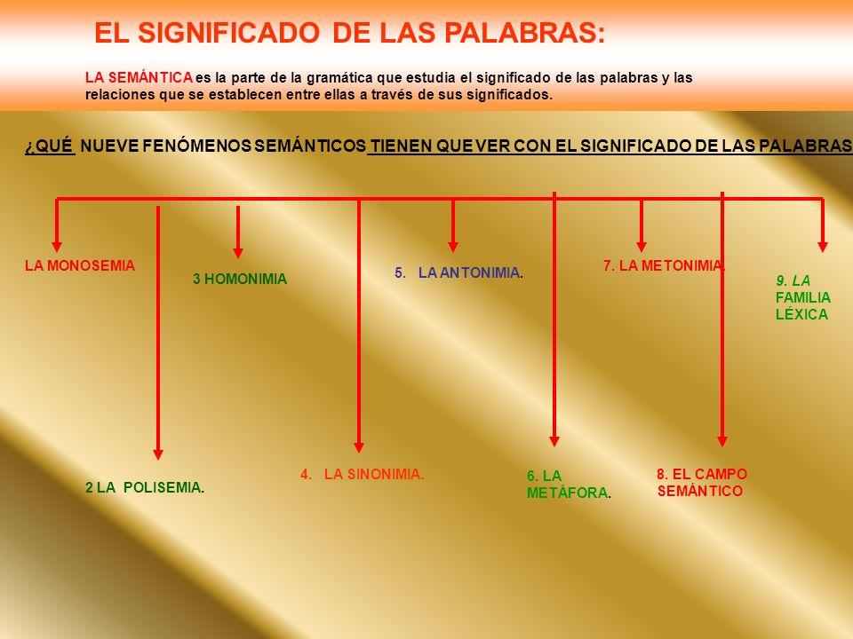 EL SIGNIFICADO DE LAS PALABRAS: