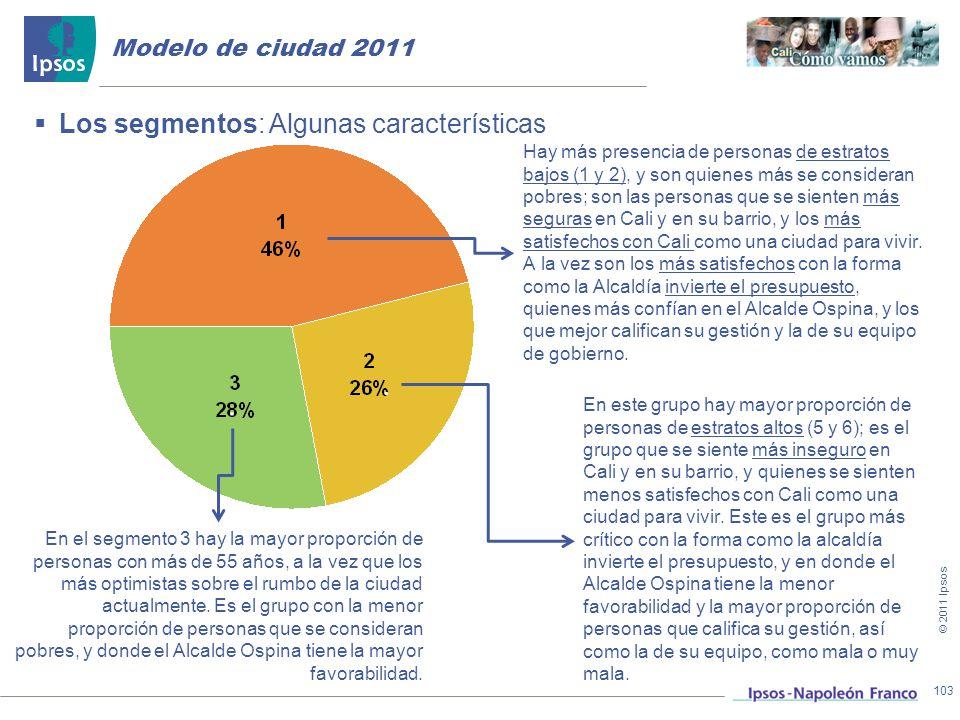 . . Los segmentos: Algunas características Modelo de ciudad 2011