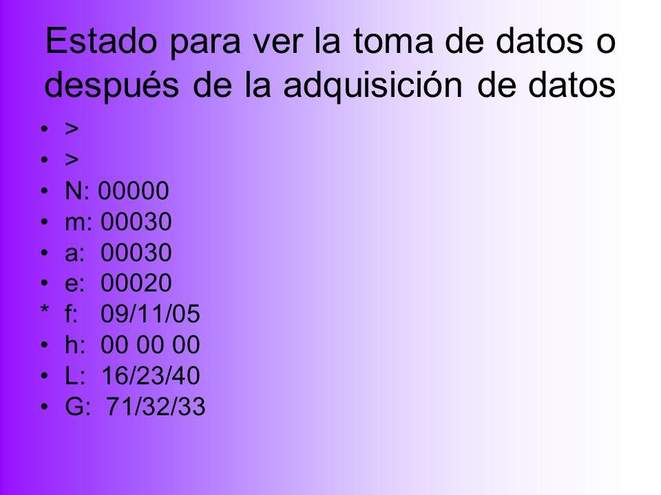 Estado para ver la toma de datos o después de la adquisición de datos