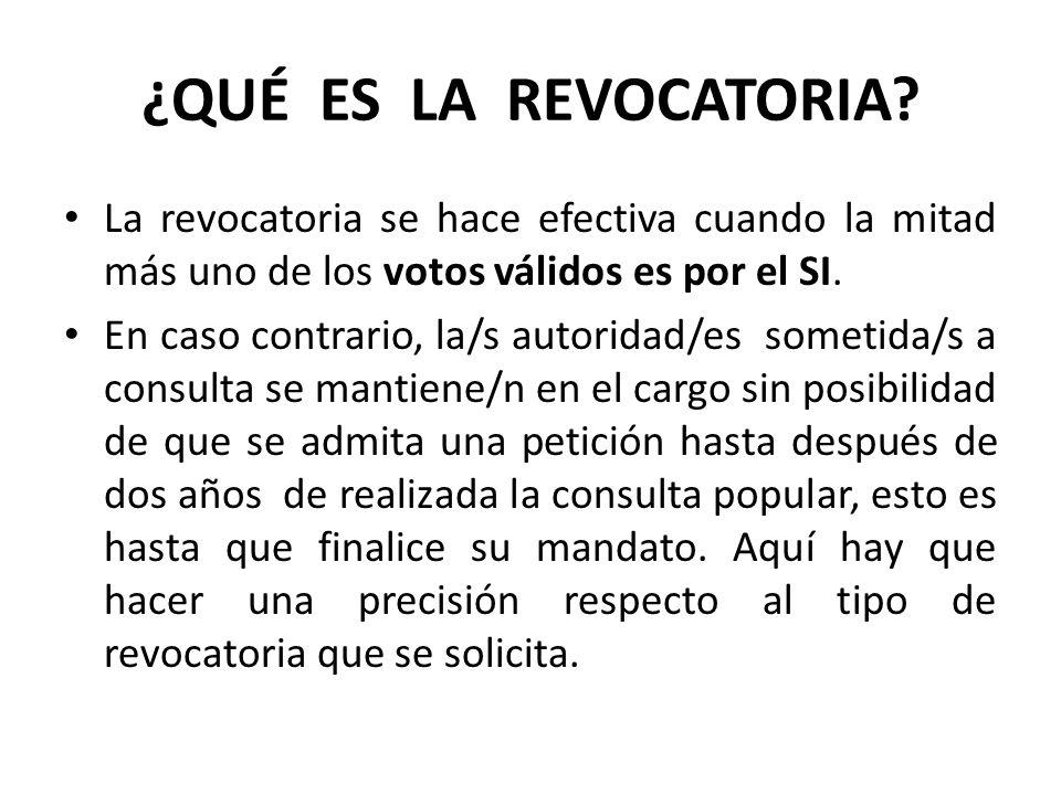 ¿QUÉ ES LA REVOCATORIA La revocatoria se hace efectiva cuando la mitad más uno de los votos válidos es por el SI.