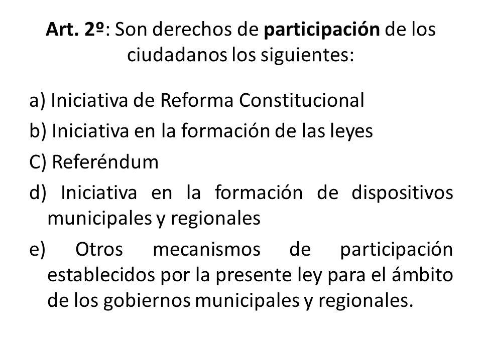 Art. 2º: Son derechos de participación de los ciudadanos los siguientes: