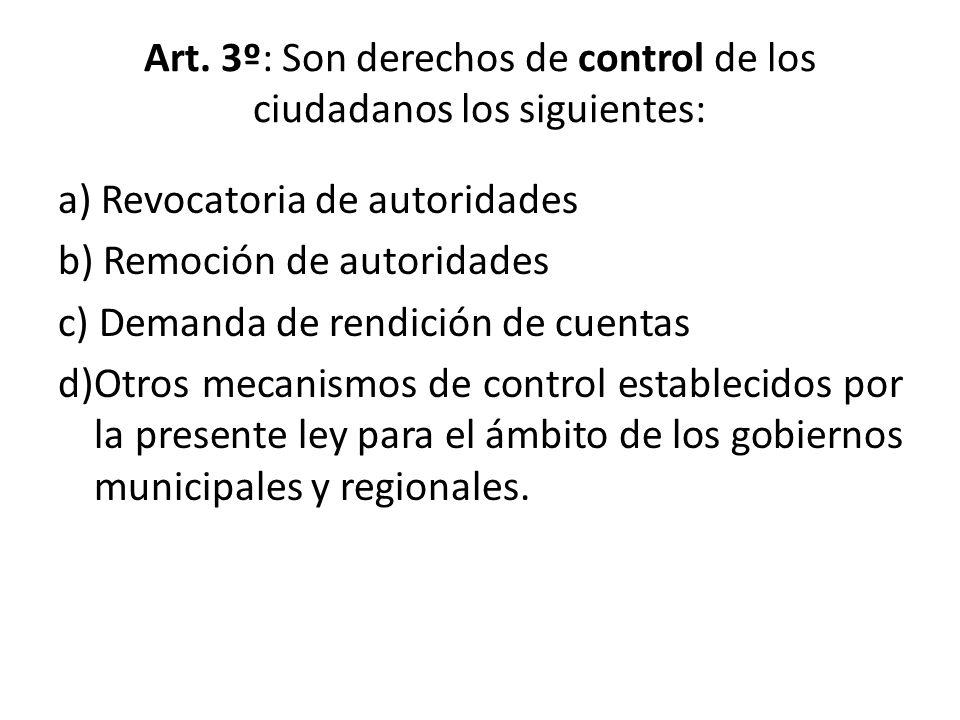 Art. 3º: Son derechos de control de los ciudadanos los siguientes: