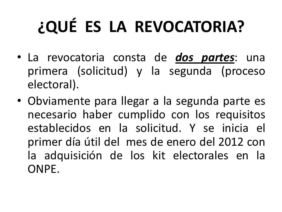 ¿QUÉ ES LA REVOCATORIA La revocatoria consta de dos partes: una primera (solicitud) y la segunda (proceso electoral).