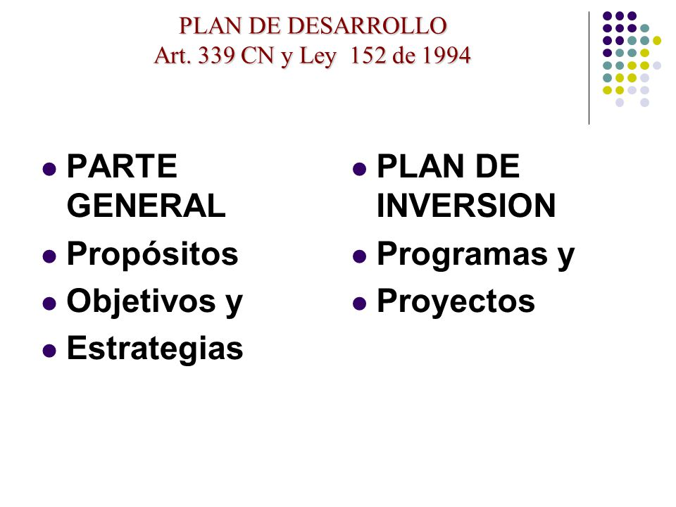 PLAN DE DESARROLLO Art. 339 CN y Ley 152 de 1994