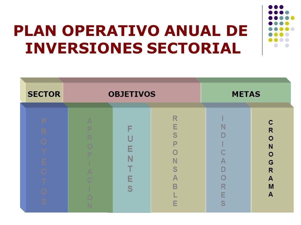 PLAN OPERATIVO ANUAL DE INVERSIONES SECTORIAL