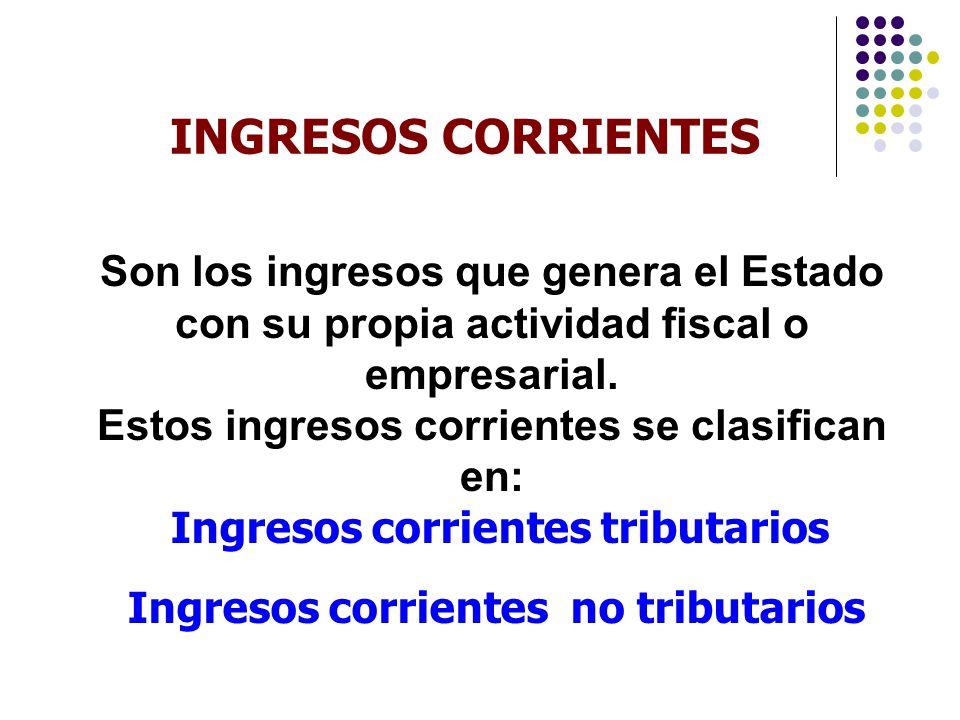 INGRESOS CORRIENTES Son los ingresos que genera el Estado con su propia actividad fiscal o empresarial.