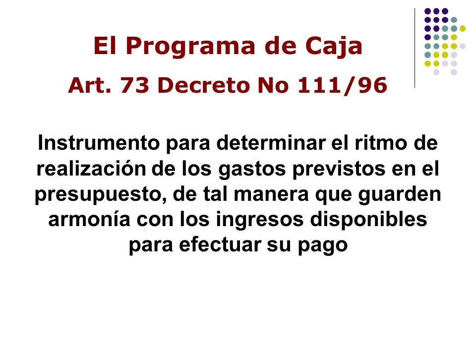 El Programa de Caja Art. 73 Decreto No 111/96