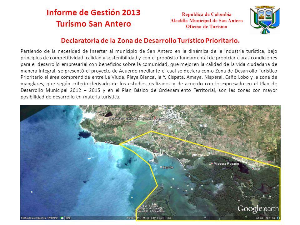 Informe de Gestión 2013 Turismo San Antero