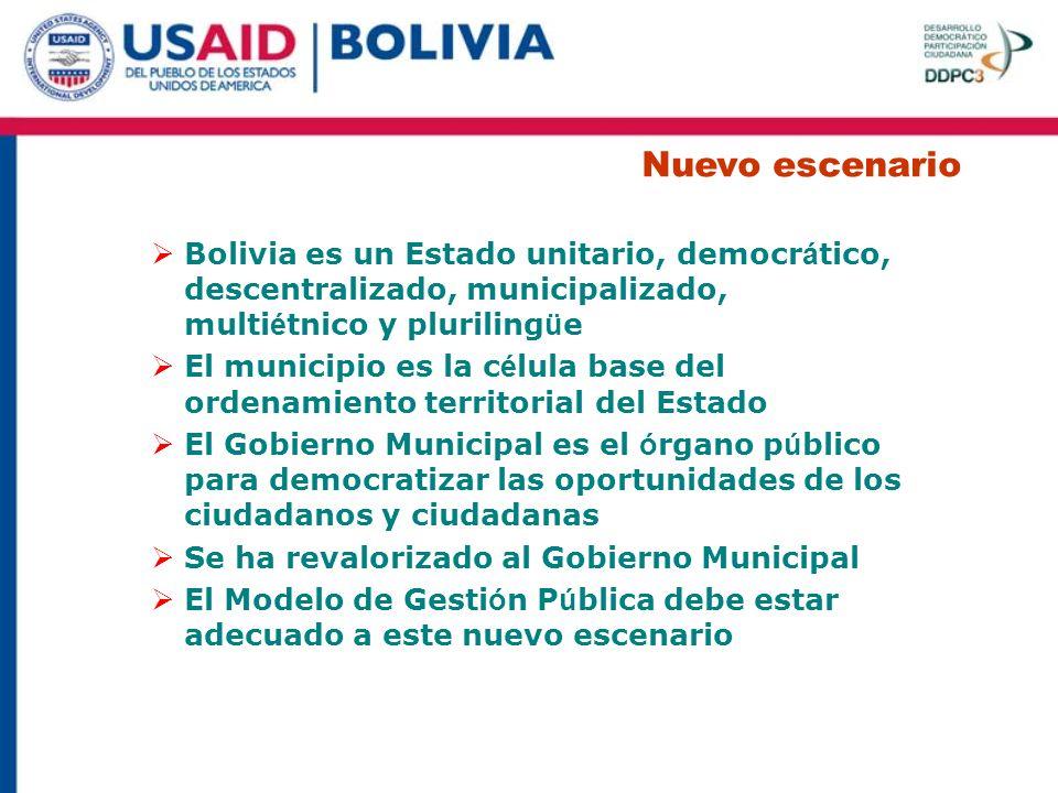 Nuevo escenario Bolivia es un Estado unitario, democrático, descentralizado, municipalizado, multiétnico y plurilingüe.
