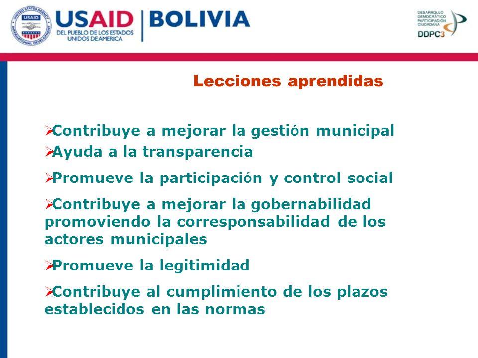 Lecciones aprendidas Contribuye a mejorar la gestión municipal