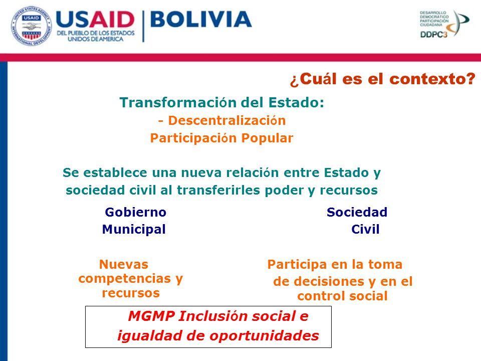 ¿Cuál es el contexto Transformación del Estado: