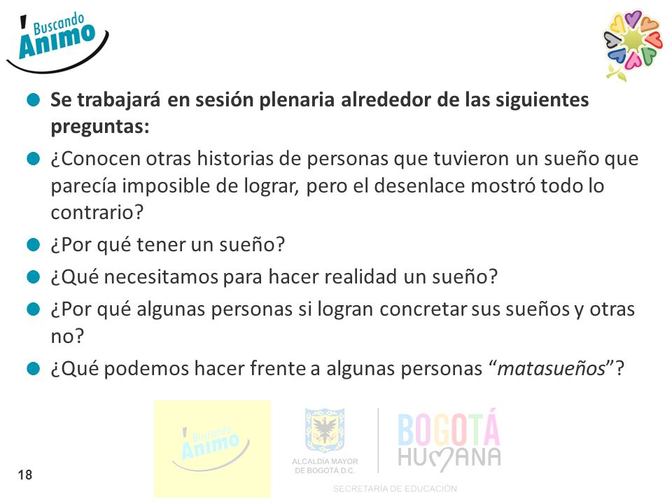 Se trabajará en sesión plenaria alrededor de las siguientes preguntas: