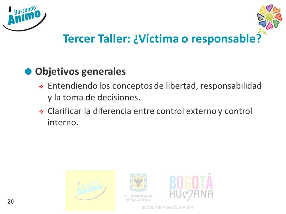 Tercer Taller: ¿Víctima o responsable