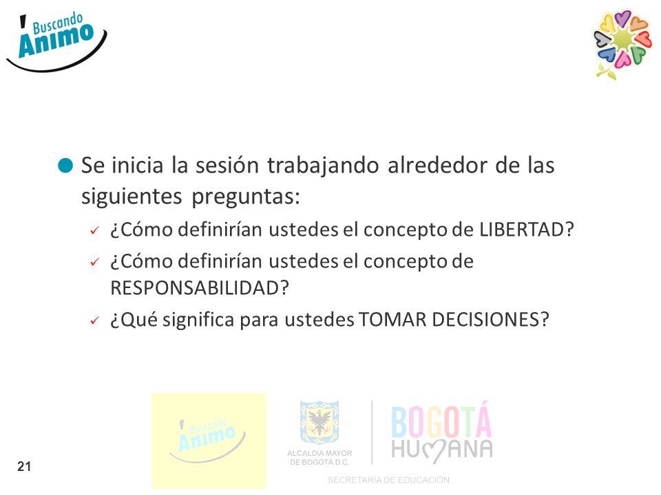 Se inicia la sesión trabajando alrededor de las siguientes preguntas: