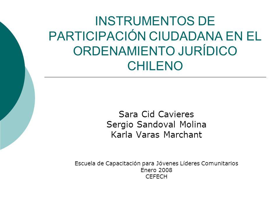 INSTRUMENTOS DE PARTICIPACIÓN CIUDADANA EN EL ORDENAMIENTO JURÍDICO CHILENO