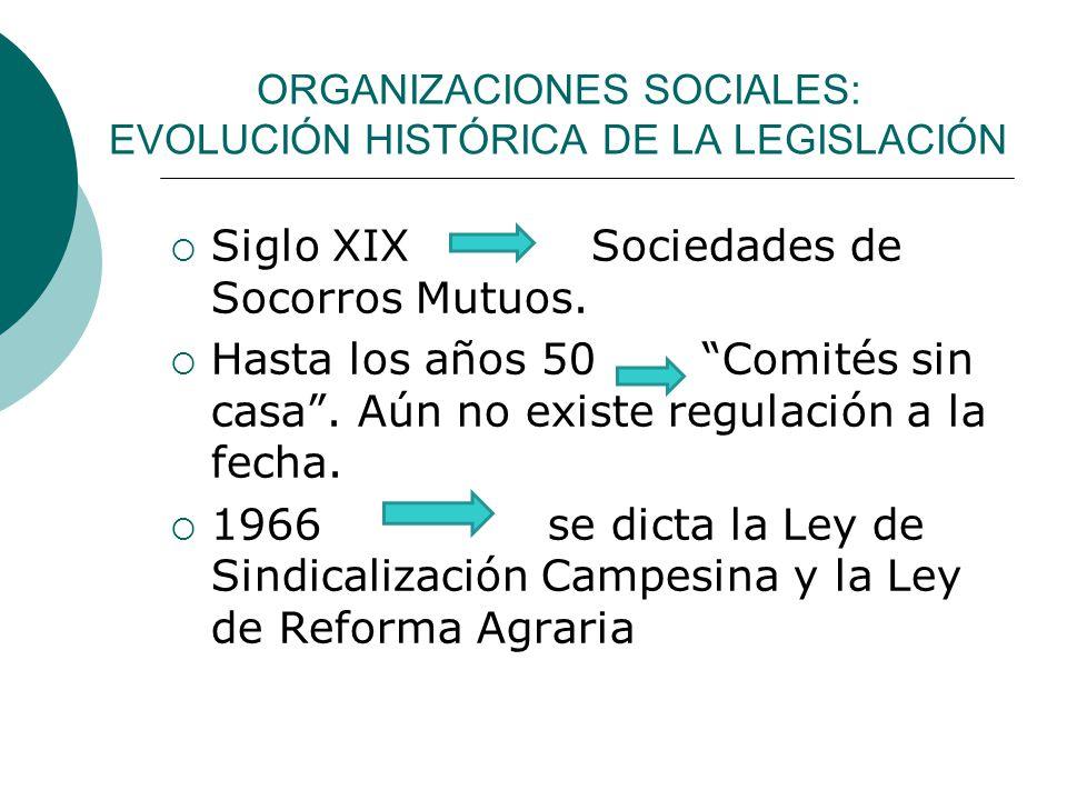 ORGANIZACIONES SOCIALES: EVOLUCIÓN HISTÓRICA DE LA LEGISLACIÓN