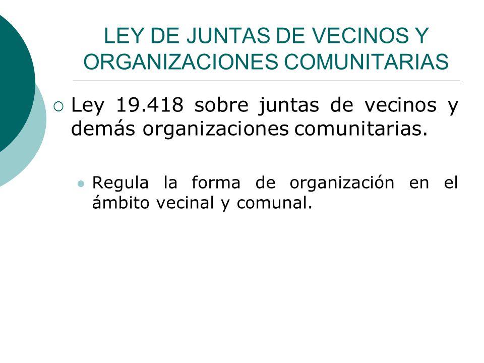 LEY DE JUNTAS DE VECINOS Y ORGANIZACIONES COMUNITARIAS