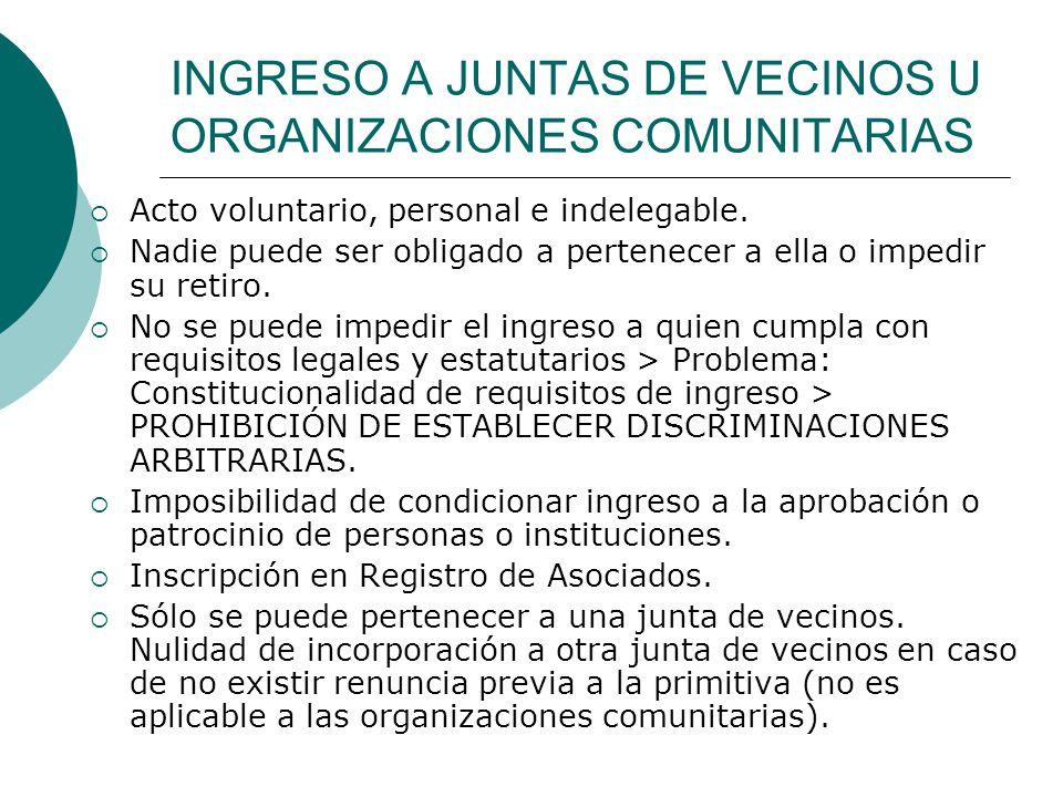 INGRESO A JUNTAS DE VECINOS U ORGANIZACIONES COMUNITARIAS