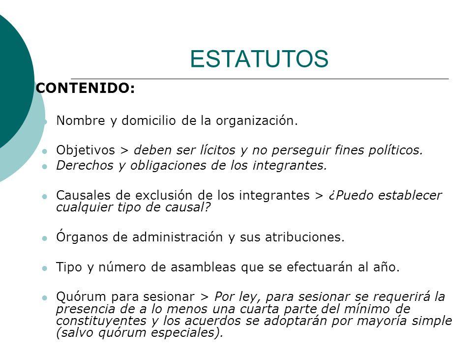 ESTATUTOS CONTENIDO: Nombre y domicilio de la organización.