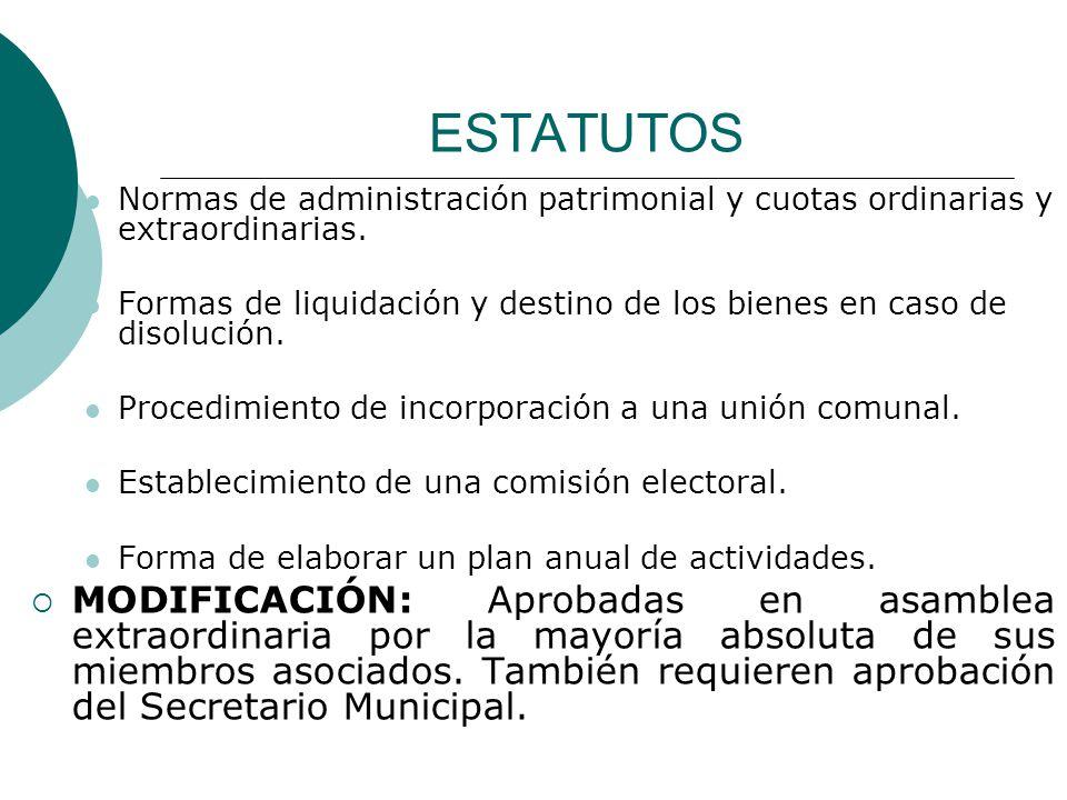 ESTATUTOS Normas de administración patrimonial y cuotas ordinarias y extraordinarias.