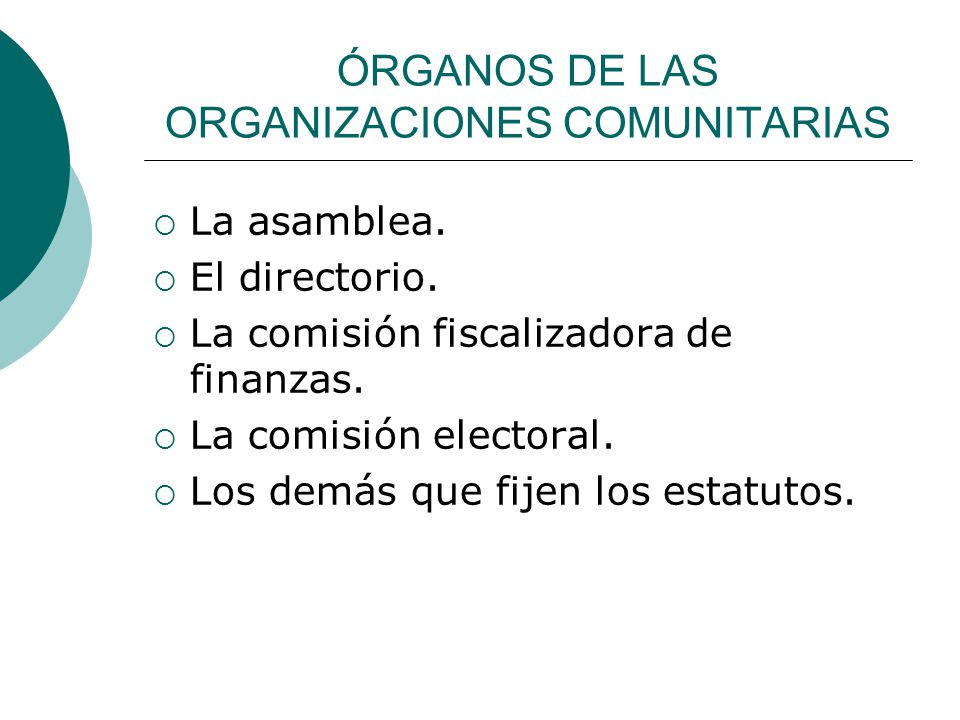 ÓRGANOS DE LAS ORGANIZACIONES COMUNITARIAS