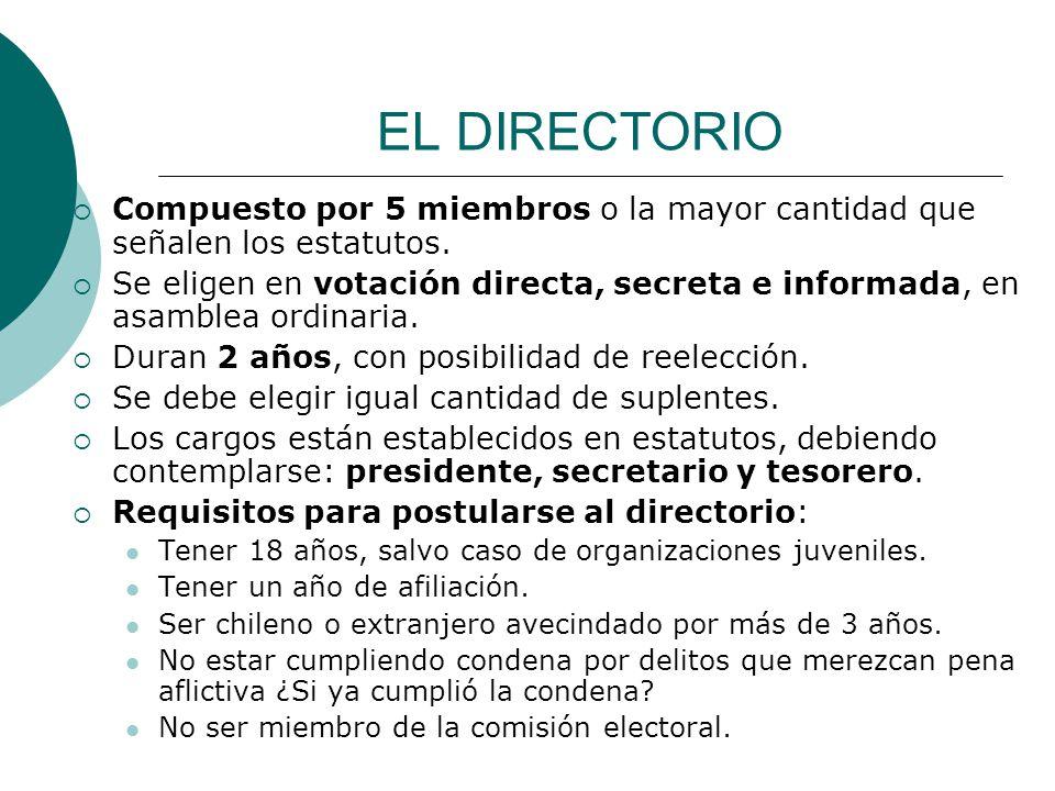EL DIRECTORIO Compuesto por 5 miembros o la mayor cantidad que señalen los estatutos.