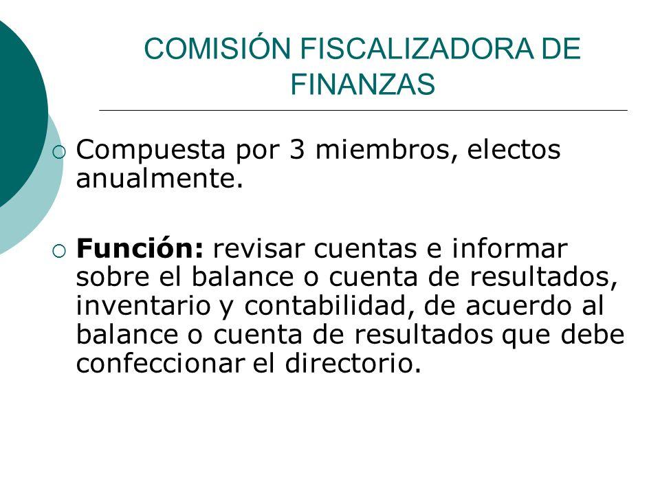 COMISIÓN FISCALIZADORA DE FINANZAS