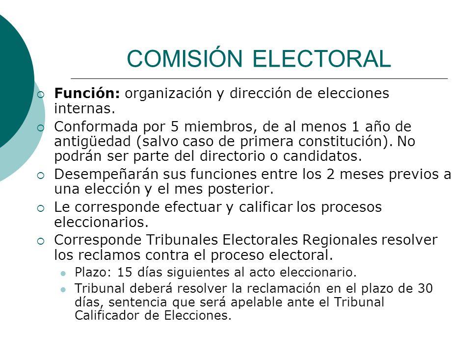 COMISIÓN ELECTORAL Función: organización y dirección de elecciones internas.