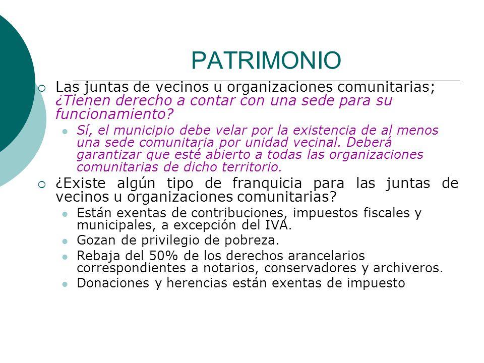 PATRIMONIO Las juntas de vecinos u organizaciones comunitarias; ¿Tienen derecho a contar con una sede para su funcionamiento