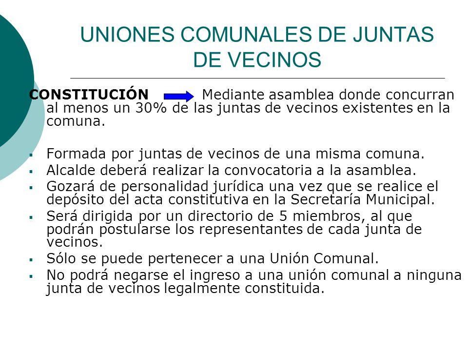 UNIONES COMUNALES DE JUNTAS DE VECINOS
