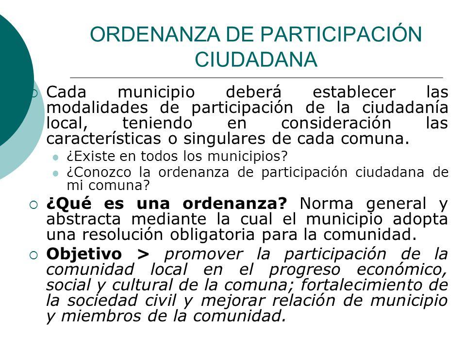 ORDENANZA DE PARTICIPACIÓN CIUDADANA