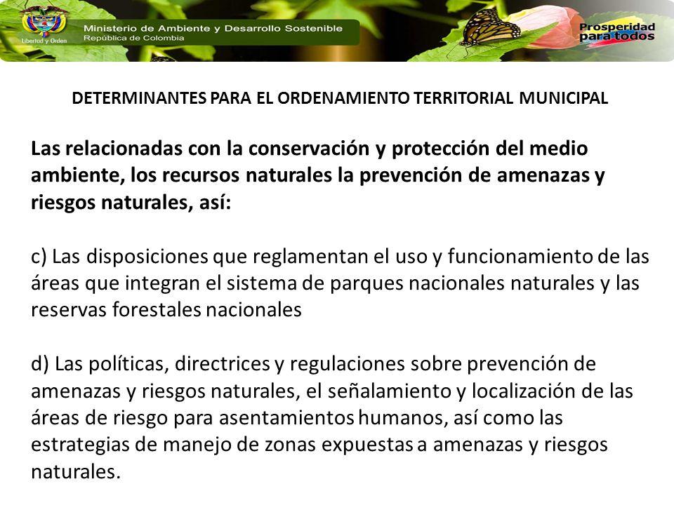 DETERMINANTES PARA EL ORDENAMIENTO TERRITORIAL MUNICIPAL
