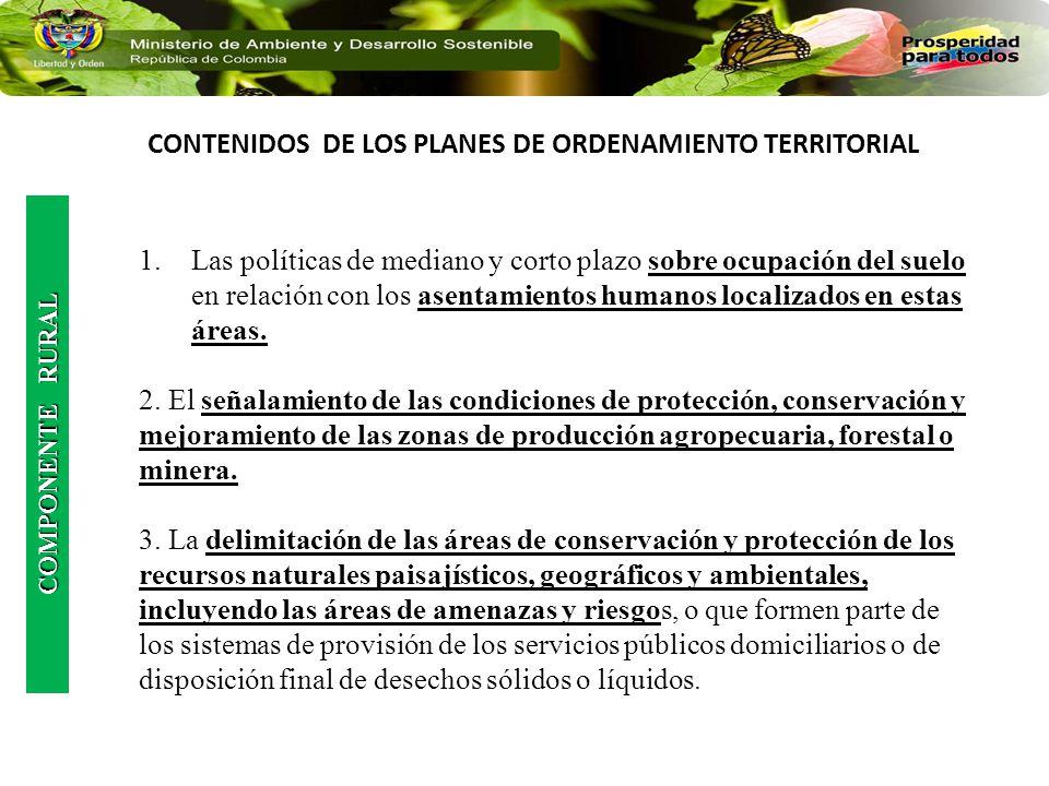 CONTENIDOS DE LOS PLANES DE ORDENAMIENTO TERRITORIAL