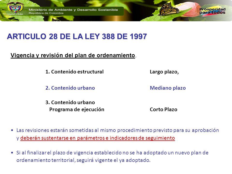 ARTICULO 28 DE LA LEY 388 DE 1997 Vigencia y revisión del plan de ordenamiento. Contenido estructural Largo plazo,